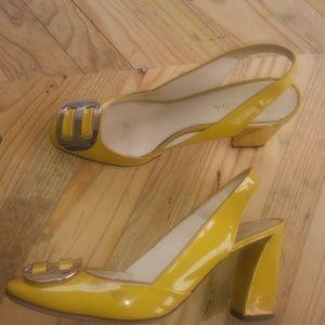 PRADA Yellow Slingback Pumps Size EUR 38 1/2